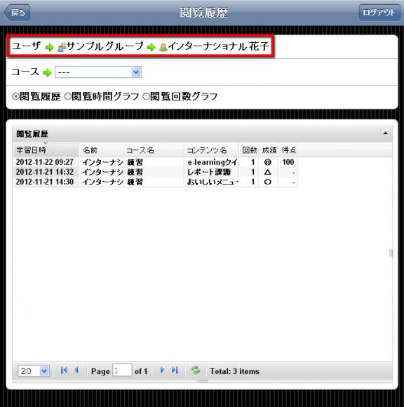特定のユーザの記録のみを表示できる