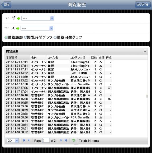 学習の記録を確認する画面